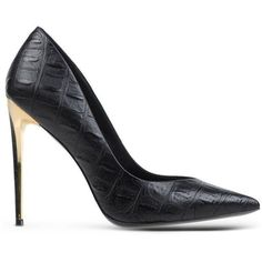 Rachel Zoe Black Crocodile-Printed Leather Pump ($358) ❤ liked on Polyvore featuring shoes, pumps, black, pointy-toe pumps, pointed toe stilettos, leather pointed toe pumps, pointy toe stiletto pumps and leather pumps