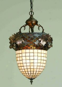 Inverted Pendant Light in Acorn and Oak Leaf theme by Meyda Tiffany Custom Art Nouveau, Acorn And Oak, Mighty Oaks, Foyer Lighting, Oak Leaves, Antique Lamps, Craftsman Style, Lamp Light, Light Fixtures