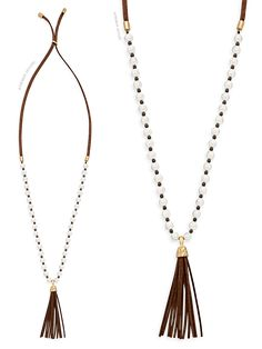Pearl-Sueded. Gorgeous brown suede and creamy white pearls mix in this beautiful necklace! www.blinginhotmess.com