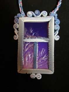 polymer clay frosted window pendant