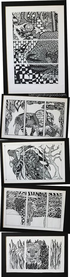 High School Art lesson: Zentangle Triptychs [ART II class] Elements of Art Line
