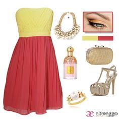 #vestido #corto #strapple #amarillo #coral #mini #dress #fashion #dorado #clutch