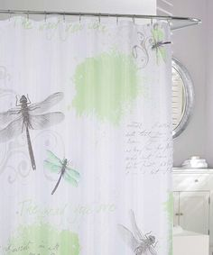 Look at this #zulilyfind! Green & Gray Dragonfly Shower Curtain by Moda at Home #zulilyfinds