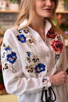Embroidered blouse floral blouse vyshyvanka mexican blouse | Etsy Embroidery On Clothes, Embroidery Suits, Embroidered Clothes, Embroidery Fashion, Embroidered Blouse, Linen Blouse, Floral Blouse, Johnny Was Clothing, White Peasant Blouse