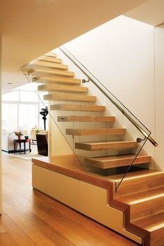 Looks great and if you had a family a more practical thing would be just to continue those bottom three steps instead of gaps