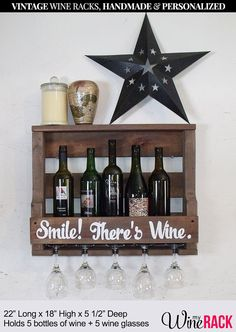 "Wood Pallet Wine Rack - with quote ""Smile There's Wine."" Wedding Gift, Housewarming Gift, Valentines Day Gift. Reclaimed Wood, Rustic Wine Rack. The original ""Pinterest"" Wine Rack."