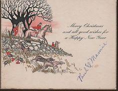 Equestrian - Fox & Hound, Merry Christmas - Happy New Year, Greeting Card, c.1920's.