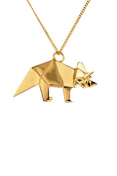 "Gold necklace with pendant incorporating the aesthetics of folding origami. 19.7""/50 cm.   Triceratops Necklace by Origami Jewelry. Accessories - Jewelry - Necklaces Bastille, Paris"