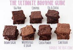 The Ultimate Brownie Guide - what makes brownies chewy, fudgy, or cakey! from handletheheat.com