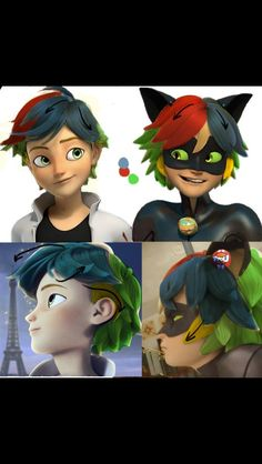 An explanation of how Adrien's hair changes when he transforms.