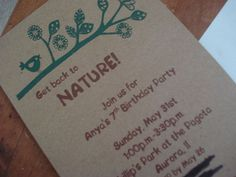 Great ideas for a nature-themed party, especially the invites
