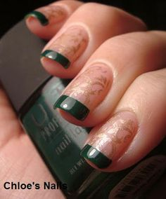 Chloe's Nails: Gold & Green Funky French