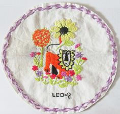 Found this in a box of old memorabilia..Floss embroidery done over an iron on transfer ripped from a Woman's Day/Family Circle Magazine back in the 1970's....