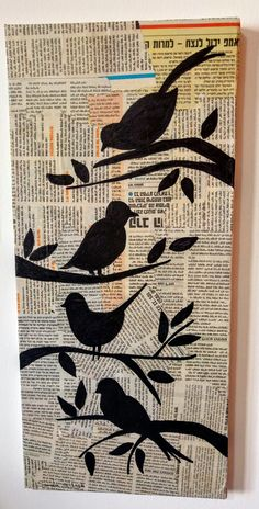 Newspaper Painting, Paper Collage Art, Newspaper Art, Hymn A