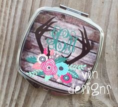 Antlers and Floral Compact MIrror