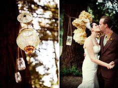 hanging mason jars and lanterns