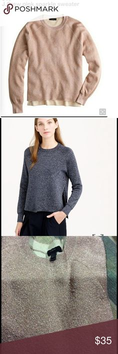J. Crew sparkle-slit sweater 💕 Let your layering skills shine—literally. This sweater has metallic yarn on the outside and cozy cotton on the inside. Deep side slits make it easy to show off a button-down underneath. Open to most offers! Loved but taken care off. J. Crew Sweaters