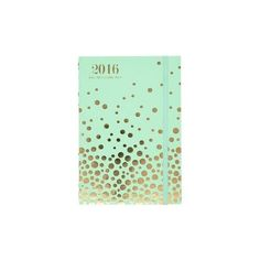 2015-2016 Paper Source Mint Gold Foil Confetti Stitch-Bound Planner (17.805 CLP) ❤ liked on Polyvore featuring home, home decor, stationery and fillers