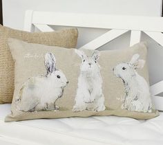 Watercolor Rabbit Lumbar Pillow Cover #potterybarn, for porch and livingroom for Easter :-)