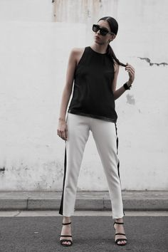 Gemme Sorbet - Fashion Blogger wearing our monochrome trousers