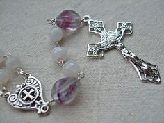 Dominican/Catholic Rosary Beads with Moonstone, Purple Fluorite and Sterling Silver by GardenofDevotion