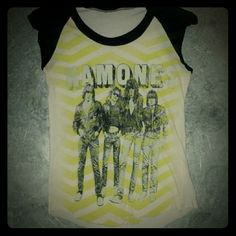 FINAL SALE $10! Distressed Ramones tee! FINAL SALE $10! NO OFFERS, PRICE FIRM! Looks vintage, right? But it's not! Definitely a repro but a really cool one at that! Distressed old skool Ramones graphic, super soft faded out tee with cut off sleeves and and jagged hem! Cotton/elastin blend, no size tag but definitely fits XS! Rock on peeps! Tops
