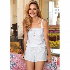 $26 Mono-short pijama impromptu - tirantes ajustables y escote adornados con volantes, pieza de abotonado - 100 algodón