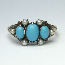 Laura's lifeintheknife on Ruby Lane: Antique Victorian 10K Gold Seed Pearl & Turquoise Ring