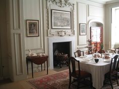 The Dining Room at Mompesson House serving as Mrs Jennings's Morning Room in the film SENSE AND SENSIBILITY. The mahogany dining table and chairs are Hepplewhite c. 1770.