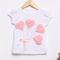 Cute heart Valentine tshirt for girls White with by MoanasKids