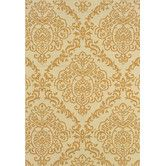 Found it at Wayfair - Tortola Indoor/Outdoor Floral Ivory & Gold Area Rug