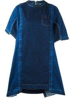 Купить Sacai джинсовое платье с панельным дизайном в Cumini from the world's…