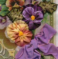 I ❤ ribbon embroidery . Ribbon Pansies ~From Nostalgic NeedleART Ribbon Art, Fabric Ribbon, Ribbon Crafts, Flower Crafts, Ribbon Flower, Diy Ribbon, Ruffle Fabric, Fabric Sewing, Wired Ribbon