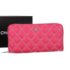 Chanel Matelasse Embroidery Zip Around Wallet Original Leather D020 Rose - $159.00