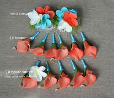 Coral Wedding Decorations, Coral Wedding Themes, Best Wedding Colors, Wedding Color Schemes, Wedding Coral, Stage Decorations, Turquoise Coral Weddings, Coral Turquoise, Calla Lily Boutonniere