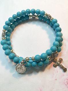 Turquoise Ceramic Beads Rosary Bracelet, Southwestern Style Rosary Bracelet, Memory Wire Rosary Bracelet, Catholic, Hand Strung Bracelet by LivAriaDesigns on Etsy