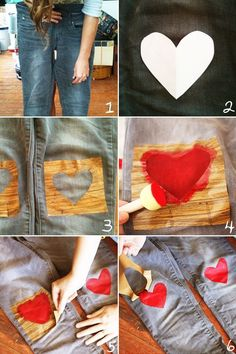 diy heart jeans!  doing this to tights and shirts too...