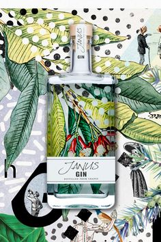 Self-promotion Packaging Design - Janus Gin - distilled grapes - Concept packaging by & print by Tea Packaging, Bottle Packaging, Brand Packaging, Graphic Design Branding, Graphic Design Posters, Label Design, Package Design, Corporate Design, Brochure Design