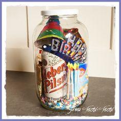 Geburtstagsparty im Glas - ein schönes Geschenk für Männer - birthday in a jar - DIY gift idea for men / man