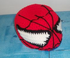 MelodyCrochet: The Making of Spiderman (Crochet Hat) B.D. 70 stitches wide, 21 rows deep