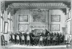 A meeting in the East India House in Amsterdam. Drawing by Simon Fokke, 1771. Amsterdam Municipal Archives.   Present a number of Amsterdam directors, two lawyers of the Company, William V and his representative. In the hall hanging  cards from Asia and paintings of sites in the East. Above the fireplace is a painting of the Castle of Batavia. Its left is a view of the city Raiebagh in India and below a view of Ambon. These paintings now hang in the Rijksmuseum.