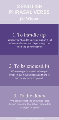 Super useful English phrasal verbs to use during the winter months!