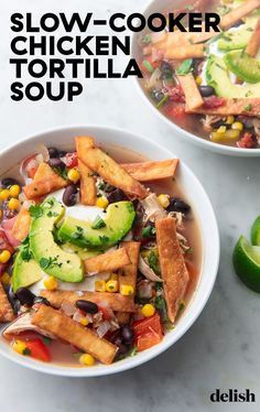 Slow-cooker soup is the easiest way to do dinner during the fall (and winter). Get the recipe from Delish.com. #slowcooker #crockpot #chicken #tortilla #soup #easy #best