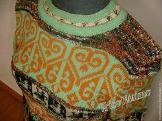 Купить Туника Марракеш - черный, орнамент, вязаная туника, вязанная туника, пуловер, свитер, яркий