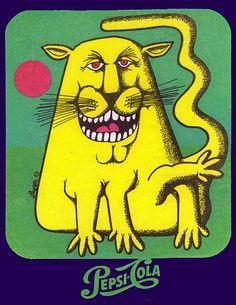 Pepsi Cola - Luppi creature iron-on - YellowaveCat - Early 70s