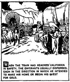 Wagon train to California gold fields.