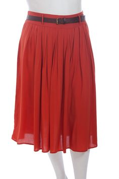 Pleated Knee Length Skirt with Thin Belt, $30