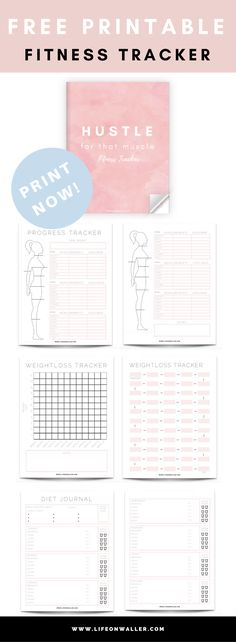 7 page free printable PDF fitness tracker, progress tracker, weight loss, and diet journal. Keep track of your progress using this fitness tracker! gym, workout, planner, freebie, hustle.