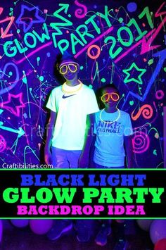DIY Black Light GLOW PARTY idea - NEON paint backdrop - photo booth - FUN DECOR