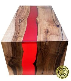 Double waterfall river coffee table with bordo resin river. Unique and very red coffee table introduces a resin river flowing from one leg through the table top and goes down on the other end via second leg. MADE TO ORDER. If you want to buy such an table - place a custom order